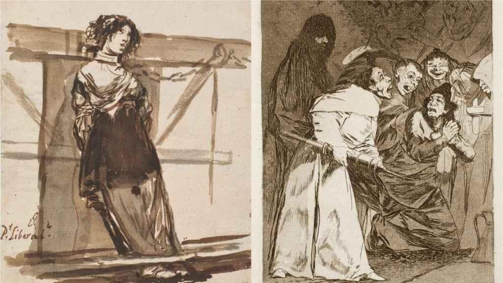 'Por Liberal?' y 'Trágala perro', dos estampas de Goya.