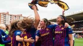 El Barcelona femenino celebra el pase a la final de la Champions. Foto: Twiter (@FCBFemeni)