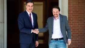 Pedro Sánchez y Pablo Iglesias en el Palacio de la Moncloa.