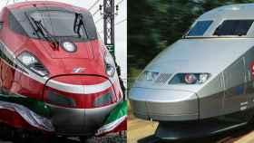 Un tren de alta velocidad de Trenitalia (izquierda) y otro modelo de la SNCF (derecha).