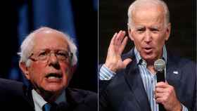 Los candidatos Bernie Sanders y Joe Biden.