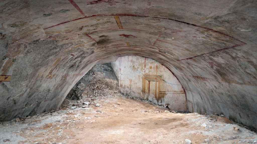 Detalle de la luneta en una salas recién descubierta en la Domus Aurea de Nerón en Roma.