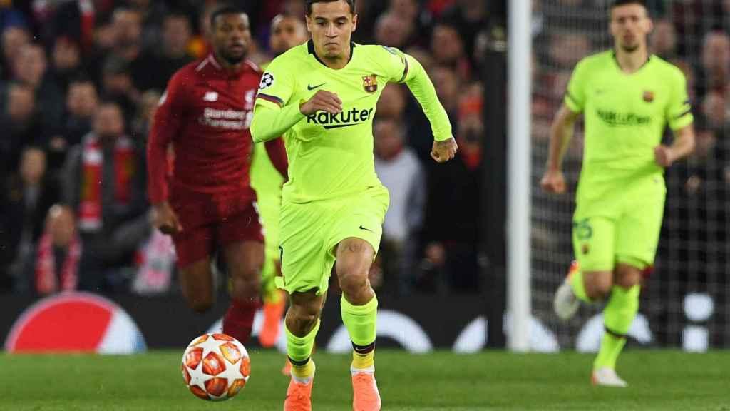 Coutinho, en el Liverpool - Barcelona de la Champions League