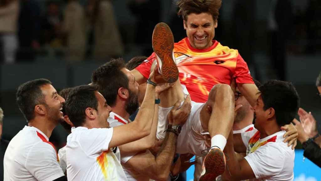 Despedida de Ferrer tras caer en el Mutua Madrid Open