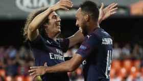 Aubameyang celebra uno de los goles del Arsenal