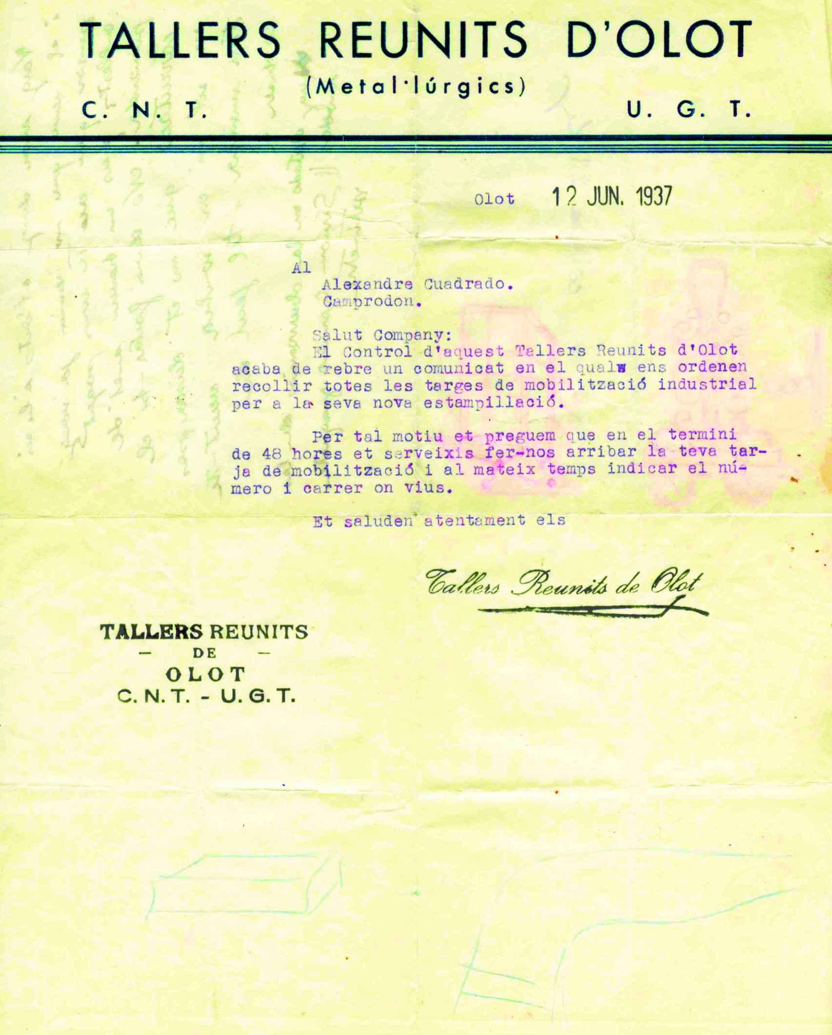 Documentación de Alejandro Cuadrado como trabajador de la fábrica de Olot.