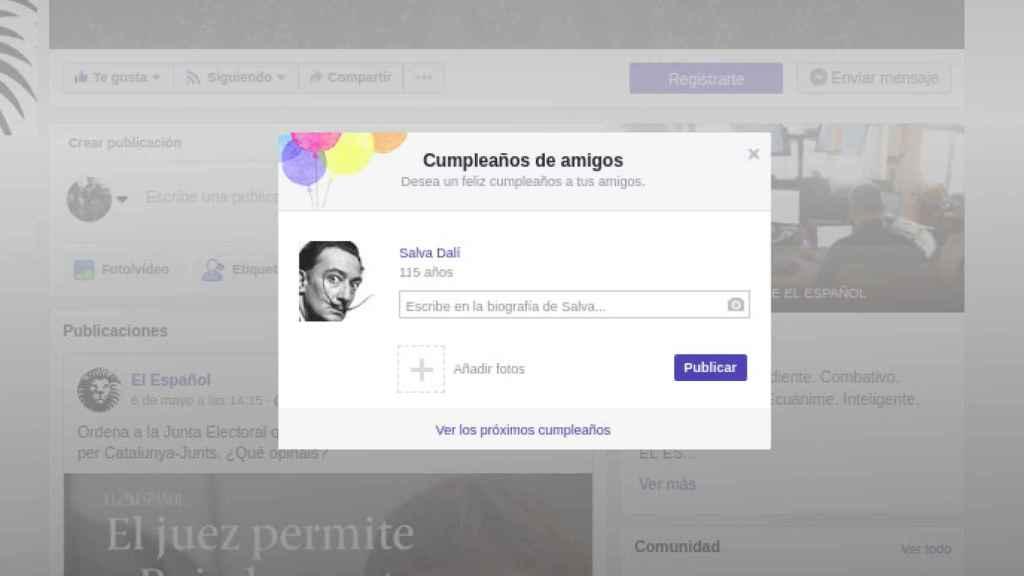 Así nos anunciaría el Facebook que hoy está de cumpleaños Salvador Dalí