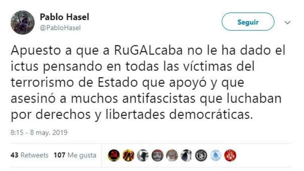 El polémico tuit de Hasel.