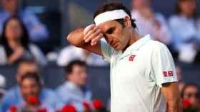 Federer en el partido contra Thiem