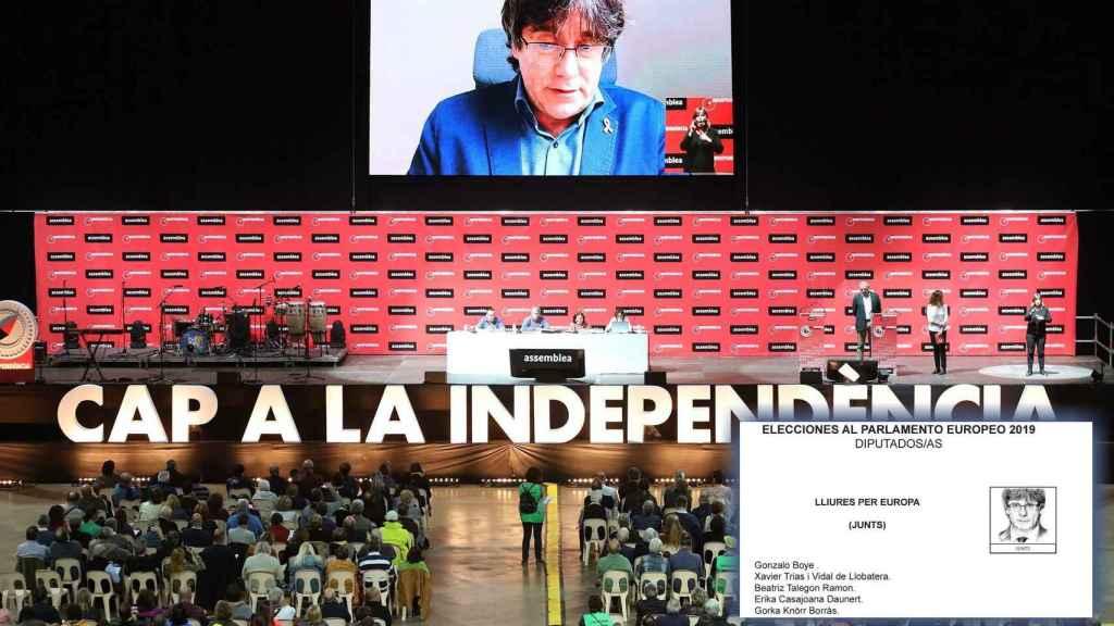 Intervención de Puigdemont mediante videoconferencia en la última asamblea de la ANC.