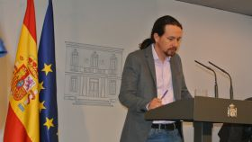 Pablo Iglesias, tras su reunión con Pedro Sánchez en la Moncloa.
