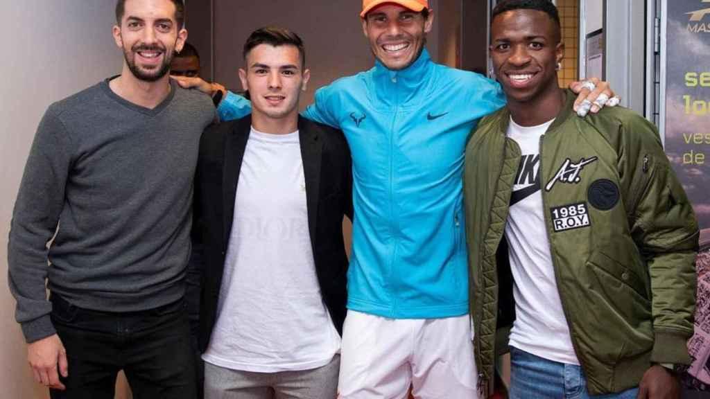 Vinicius y Brahim, junto a Rafa Nadal y Broncano en el Mutua Madrid Open. Foto: Instagram (@brahim)