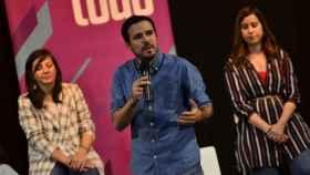 Alberto Grazón, líder de IU, de mitin en Parla.