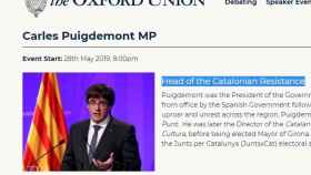 Anuncio del evento de Puigdemont en la Oxford Union./