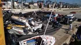 Embarcaciones incautadas en el Campo de Gibraltar, acumuladas en los depósitos.