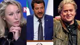 Marion Maréchal, Matteo Salvini y Steve Bannon.