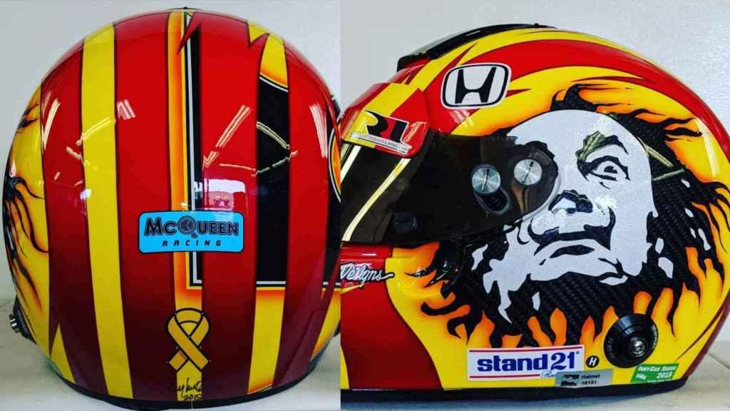 El casco de Oriol Serviá para las 500 Millas de Indianápolis 2018
