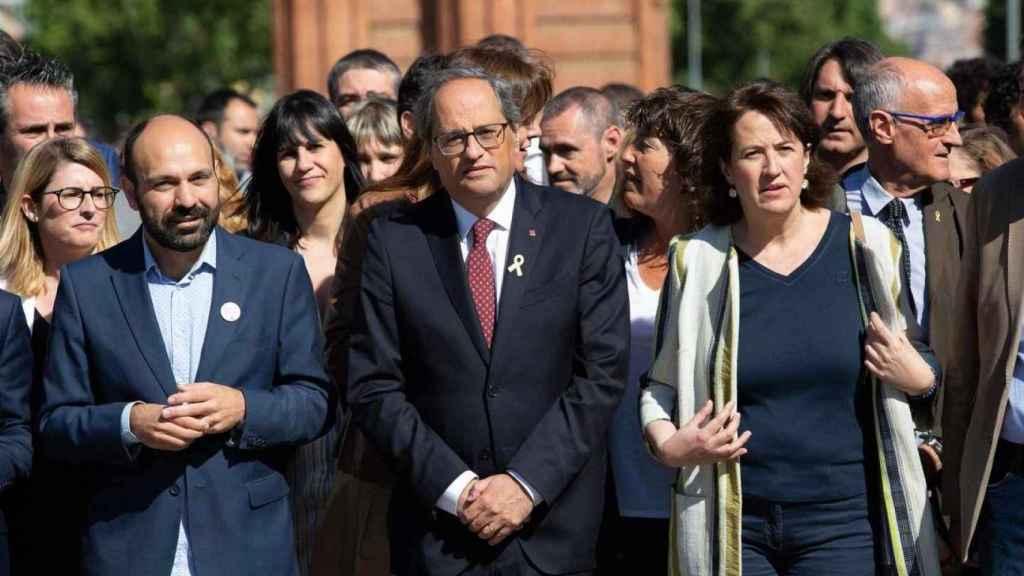 Elisenda Paluzie, de la ANC, junto a Quim Torra, presidente de la Generalidad.