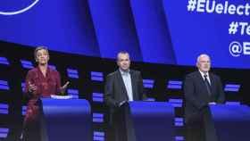 Vestager, Weber y Timmermans, durante el debate en la Eurocámara
