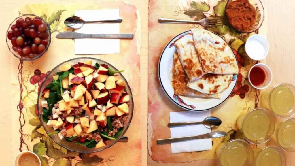 A la izquierda, menú con alimentos no procesados y a la derecha, con ultraprocesados / Hall et al./Cell Metabolism