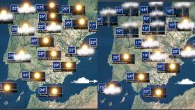 A la izquierda el mapa del clima de este miércoles, a la derecha el de este viernes
