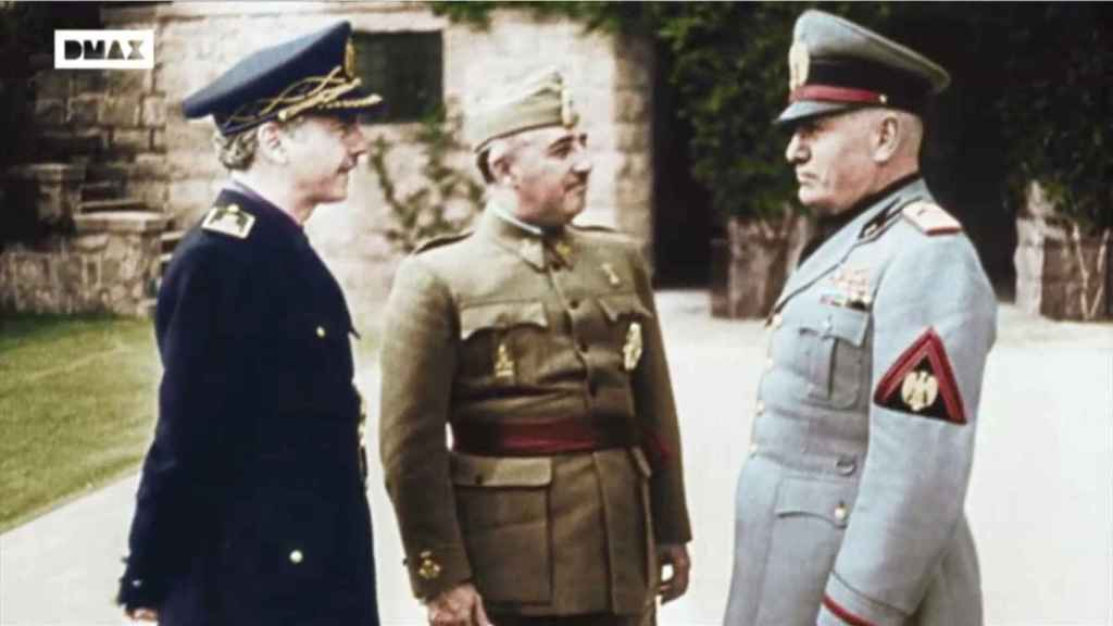 Serrano Súñer, Franco y Mussolini en 1941.