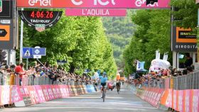 Pello Bilbao, tras conquistar la séptima etapa del Giro de Italia. Foto: (@giroditalia)