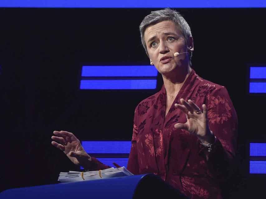La comisaria Vestager, durante el debate de candidatos a suceder a Juncker