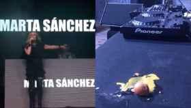 Marta Sánchez en el escenario y uno de los huevos que le tiraron