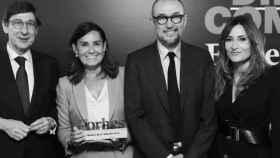Goiri, Presidente de BANKIA, Amalia Blanco, Forbes Best Dircom 2018, Andrés Rodríguez Presidente de Spainmedia y la periodista Leticia Iglesias
