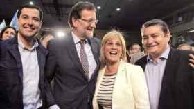 María José García Pelayo junto al ahora presidente de la Junta Moreno Bonilla y el expresidente Rajoy