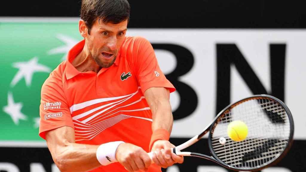 Djokovic, en un momento del partido de la final del Masters 1000 de Roma
