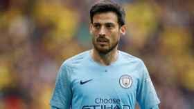 David Silva, en un partido del Manchester City