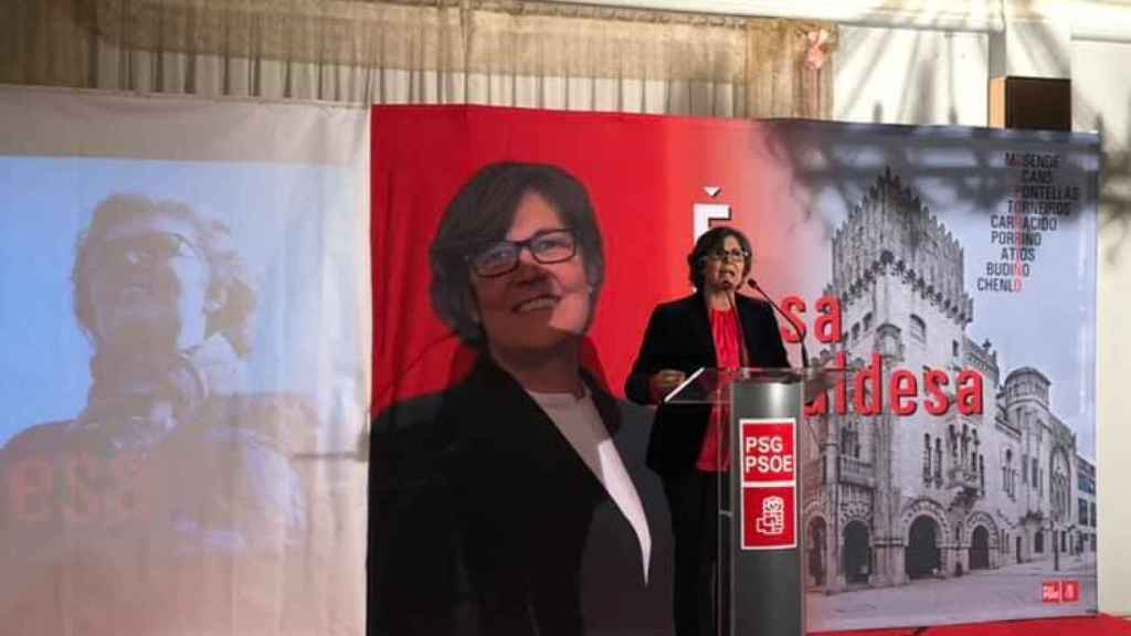 Eva García de la Torre, alcaldesa de O Porriño, durante un mitin