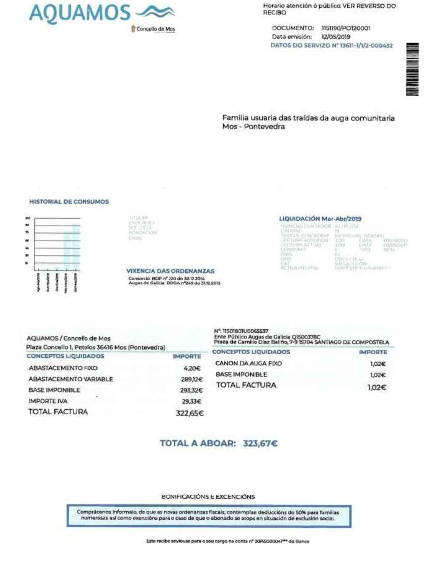 Carta falsa del recibo del agua. Foto: El Faro de Vigo