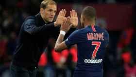 Tuchel y Mbappé, durante un partido del PSG