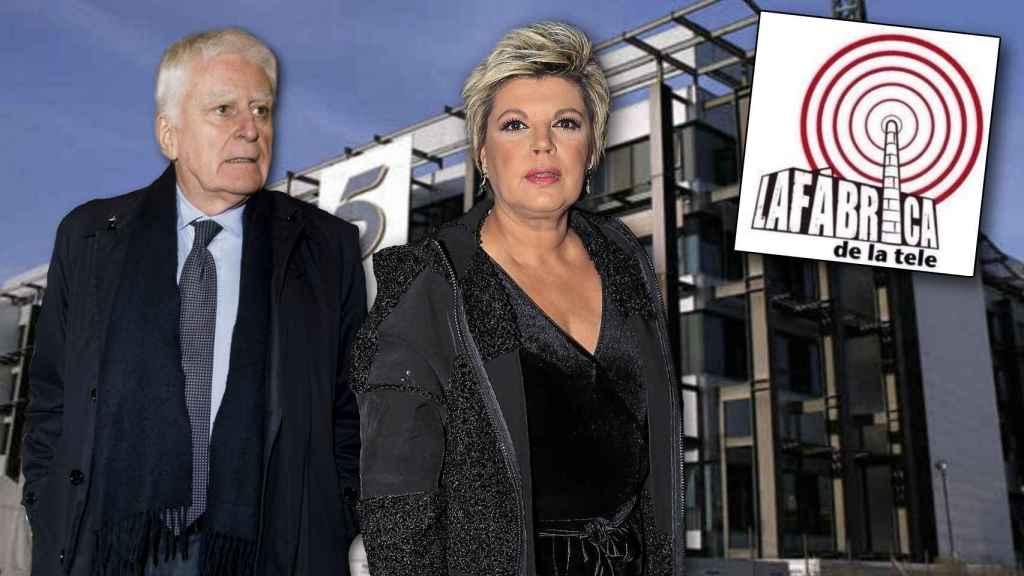 Terelu Campos junto a Paolo Vasile y el logo de La Fábrica en montaje JALEOS.