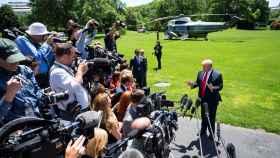 Donald Trump, presidente de Estados Unidos, ante los medios.