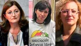 De izquierda a derecha, la pediatra Narcisa Palomino, Patricia González, miembro de Infancia Libre, y María Sevilla, presidenta de dicha asociación.