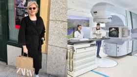 Ana, a un lado, con una bolsa de Zara; al otro lado, una de las máquinas donadas por Amancio.