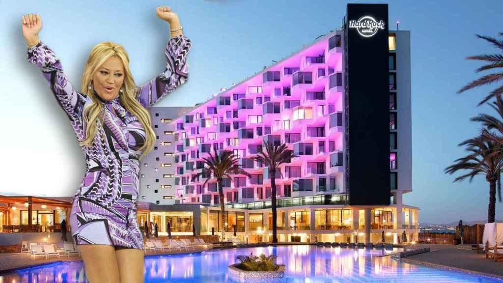 Belén Esteban en montaje JALEOS con el exclusivo hotel de fondo.