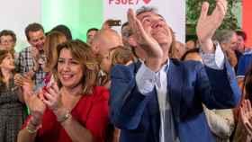 Susana Díaz y Juan Espadas, en un mitin del PSOE.