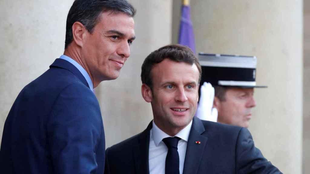 Pedro Sánchez y Emmanuel Macron, en una visita del presidente español al Palacio de Elíseo