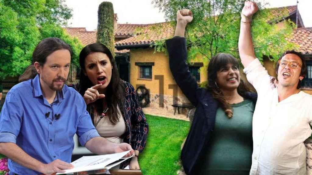 Pablo Iglesias e Irene Montero, junto a Teresa Rodríguez y José María González.