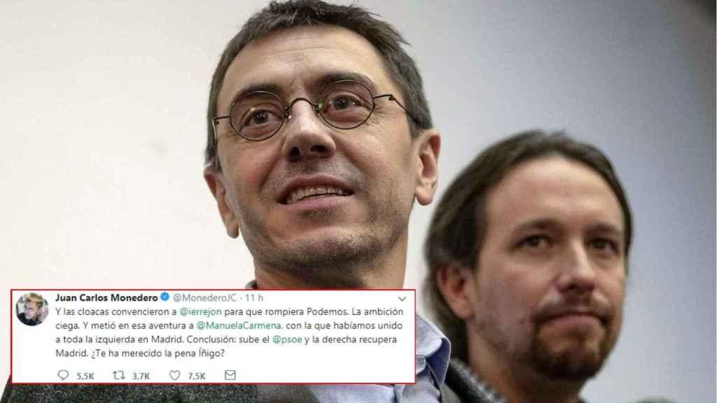El tuit de Juan Carlos Monedero acusando a Íñigo Errejón.