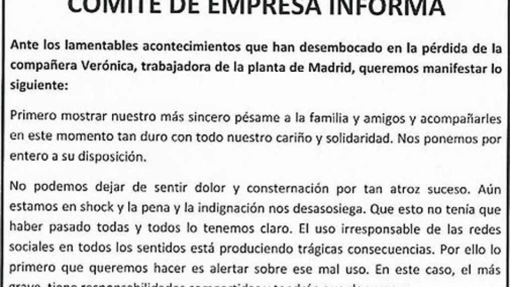 Nota difundida por el Comité de Empresa tras el suicidio de Verónica.