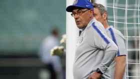 Maurizio Sarri, en el entrenamiento previo a la final de la Europa League