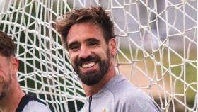 Borja Fernández, en un entrenamiento con el Valladolid. Foto: Twitter. (@BorjaFF)