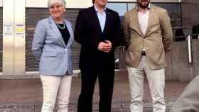 Carles Puigdemont, junto a Toni Comín y Clara Ponsatí.