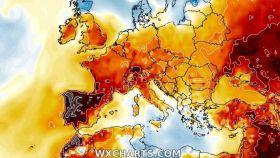 Simulación de las anomalías de temperaturas a 1 de junio. Severe-weather.eu.